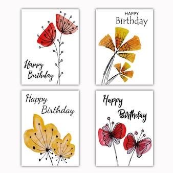 Cartão de desejos florais da aguarela
