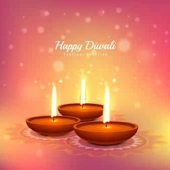 Cartão de Diwali com fundo rosa