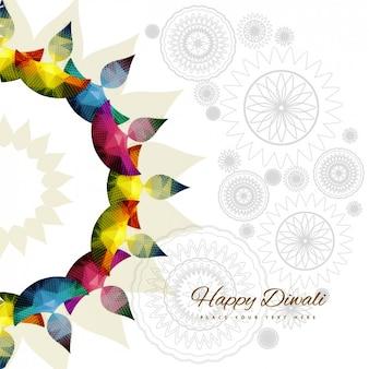 Cartão de Diwali com ornamets coloridos