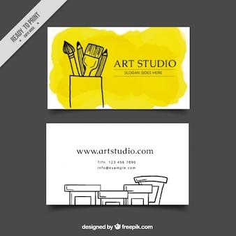 Cartão de estúdio de arte, aguarela amarela
