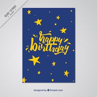Cartão de feliz aniversário com estrelas