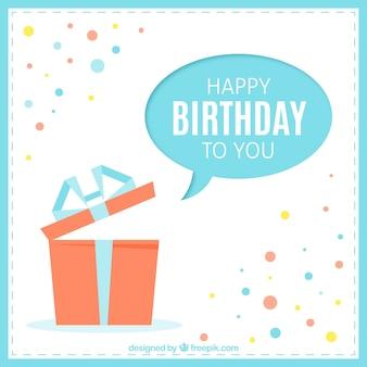 Cartão de feliz aniversário com um presente