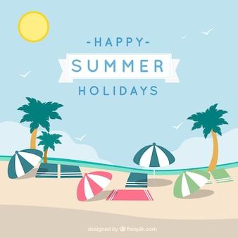 Cartão de férias de verão feliz