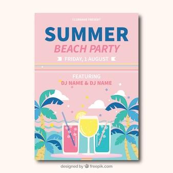 Cartão de festa na praia em tons pastel