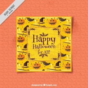 Cartão de Halloween no estilo da aguarela