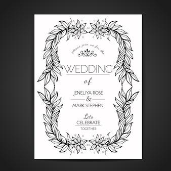 Cartão de Invitaion de casamento floral preto e branco desenhado a mão