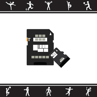 Cartão de memória micro SD e SD. ilustração vetorial
