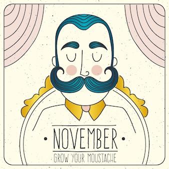 Cartão de Movember com o homem ilustrado