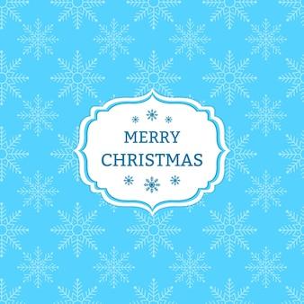 Cartão de Natal azul com flocos de neve