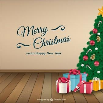 Cartão de Natal com árvore e presentes