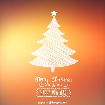 Cartão de Natal com árvore esboçado