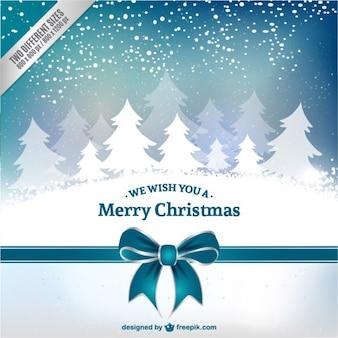 Cartão de Natal com árvores brancas