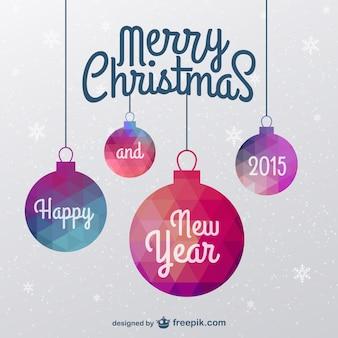 Cartão de Natal com enfeites de poligonais