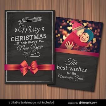 Cartão de Natal com moldura editável fotografia