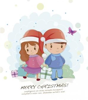 Cartão de Natal crianças
