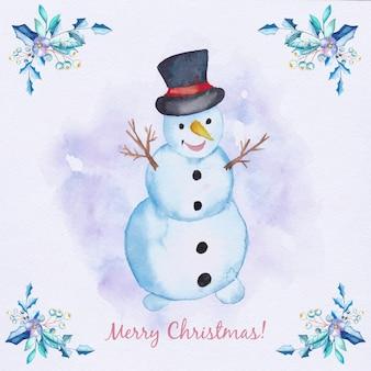 Cartão de Natal de aquarela com boneco de neve e galhos