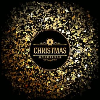 Cartão de Natal - Glitter de ouro em fundo escuro - Tipografia clássica elegante
