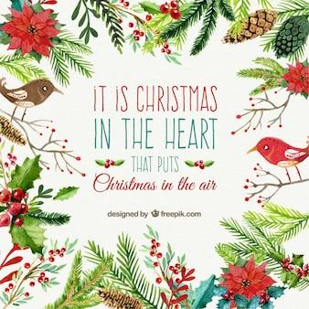 Cartão de Natal no estilo da aguarela