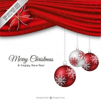 Cartão de Natal vermelho e branco minimalista