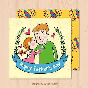 Cartão de pai do pai com a filha em estilo desenhado a mão