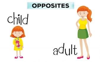 Cartão de palavra oposto com criança e adulto