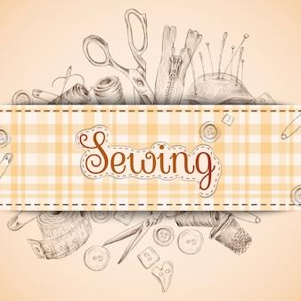 Cartão de papel de costura com acessórios de costura Esboço ilustração vetorial de fundo