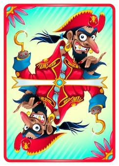 Cartão de pirata para jogos Ilustração de desenhos animados de vetores