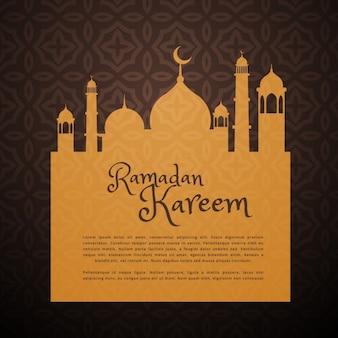 Cartão de Ramadan com a silhueta mesquita