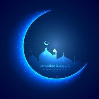 cartão de Ramadan com lua e uma mesquita