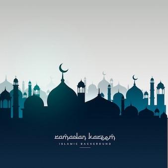 Cartão de Ramadan Kareem com mesquitas