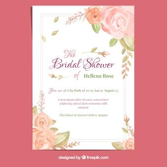 Cartão de solteira com rosas de aguarela