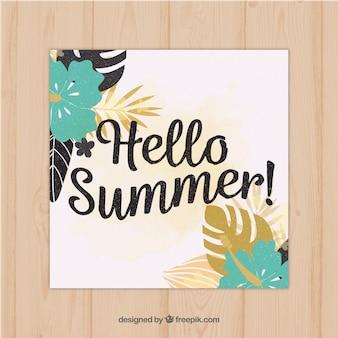 Cartão de verão com flores tropicais