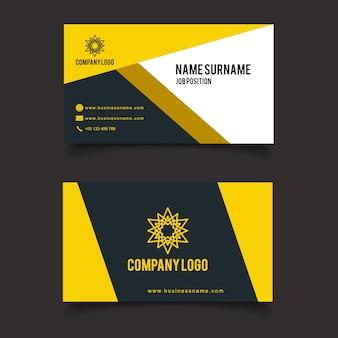 Cartão de visita amarelo e preto