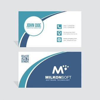 Cartão de visita azul e branco, com formas onduladas