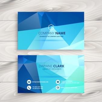Cartão de visita azul poligonal