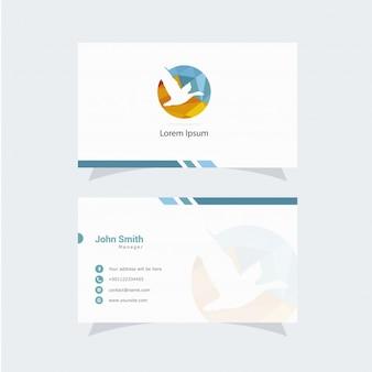 Cartão de visita branco com logotipo do pássaro