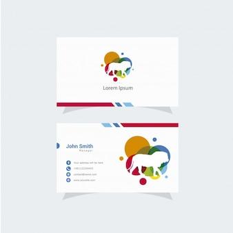 Cartão de visita branco com logotipo multicolorido do leão