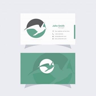 Cartão de visita branco e verde com logotipo do pássaro