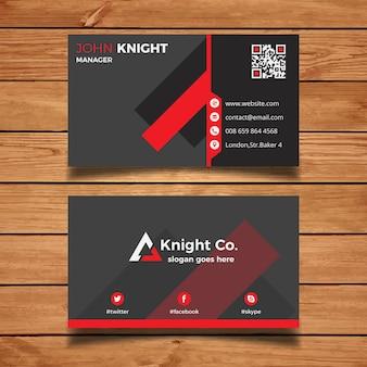 Cartão de visita cinzento e vermelho