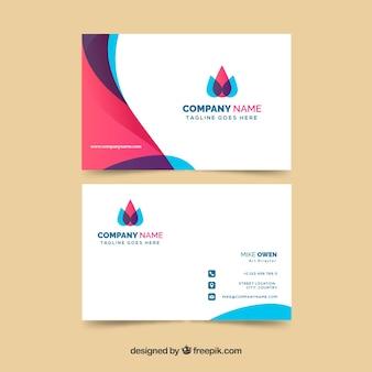 Cartão de visita colorido com design plano