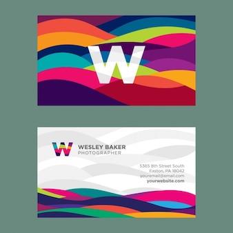 Cartão de visita colorido ondulado