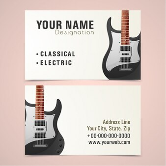 Cartão de visita com a guitarra elétrica