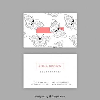 Cartão de visita com borboletas desenhadas a mão