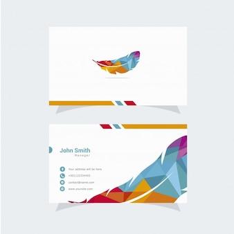 Cartão de visita com design de penas