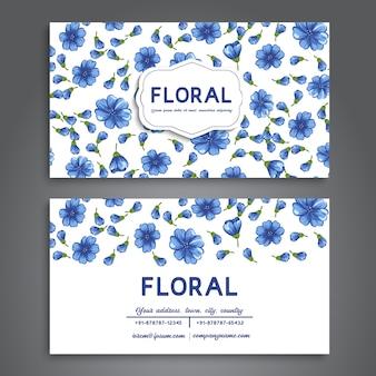 Cartão de visita com flores azuis