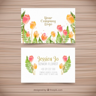 Cartão de visita com flores de aguarela