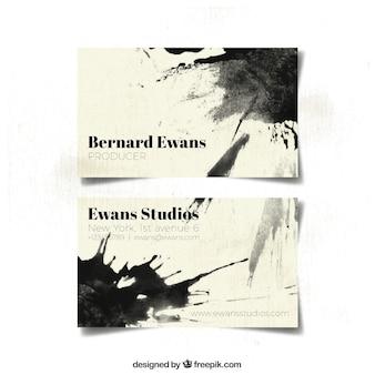Cartão de visita com manchas pretas aquarela