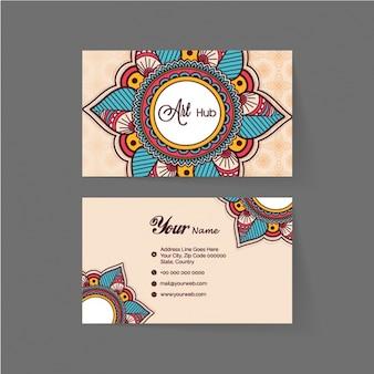 Cartão de visita com mandalas coloridas