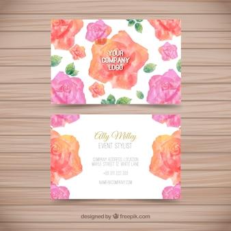 Cartão de visita com rosas de aquarela