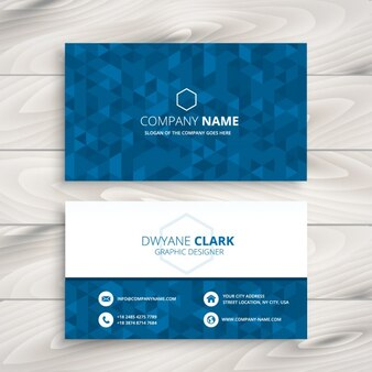 Cartão de visita com teste padrão azul triangular